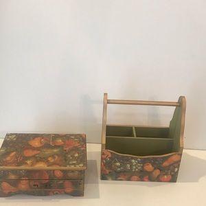 Lot 2  jewelry style box & multipurpose rack